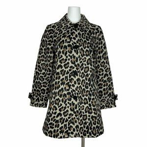 Kate Spade Leopard Print Trench Jacket S Oversized